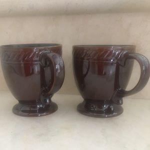2 pottery Pedestal Coffee Mugs iridescent glaze